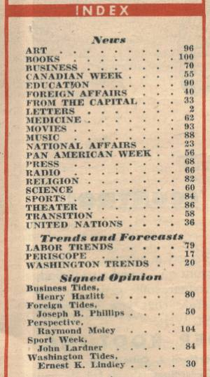 Index from the October 28, 1946 Newsweek Magazine