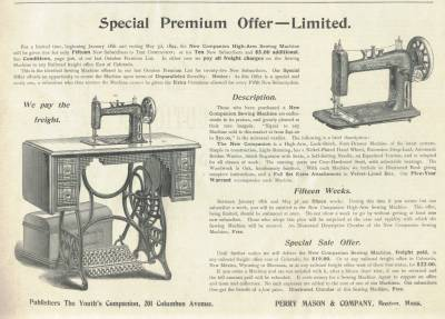 Sewing Machine Premium Offer in 1894 The Youths Companion
