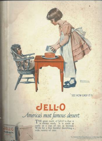 Jello ad illustrated by Norman Rockwell as it appeared in the March 1 1924 Country Gentleman