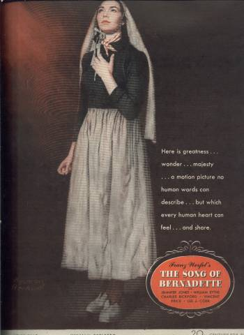 Norman Rockwell ad for the film, Song of Bernadette, in LIFE Magazine February 13 1943 issue