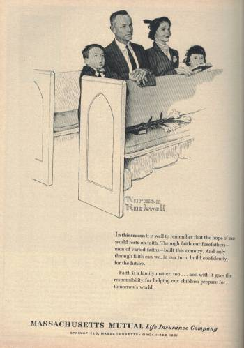 Norman Rockwell ad for Massachusetts Mutual in Newsweek Magazine April 15 1963