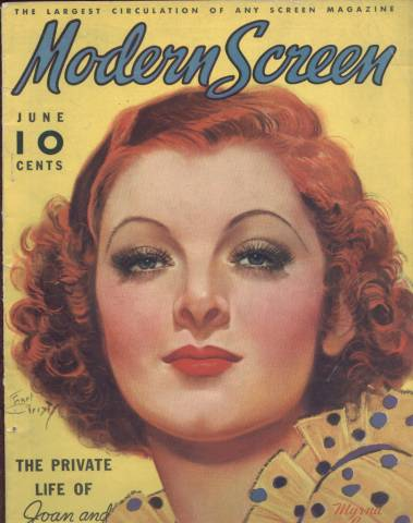 June 1936 Modern Screen Magazine with Myrna Loy cover by Earl Christy