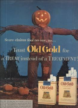 1953 Old Gold Cigarettes Halloween themed ad