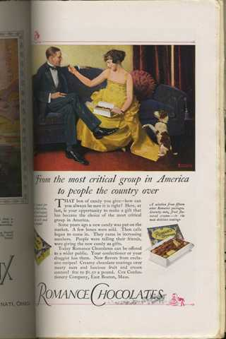 Norman Rockwell ad Romance Chocolates Harpers Monthly March 1923
