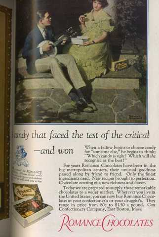 Norman Rockwell ad Romance Chocolates Harpers Monthly April 1923