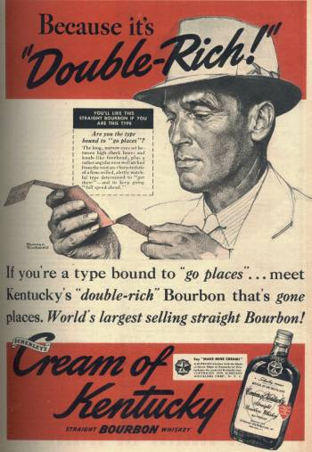 Norman Rockwell ad for Cream of Kentucky Bourbon in Liberty Magazine October 21 1939 issue