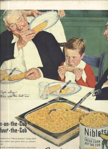 Norman Rockwell ad for Niblets Corn in LIFE Magazine December 2 1945 issue