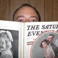 Cliff checks out an old copy of the Saturday Evening Post
